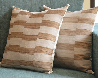 Natural and Ecru Tussar Khadi Silk Pillow Cover with Pom Pom Detail, Khadi Silk Cushion Cover with Stripes , Striped Decorative Pillow Cover