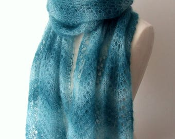 kidsilk lace shawl, teal scarf, cozy handknit scarf, ocean green stole