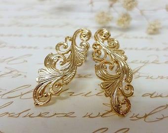 Women's Gift, Gold Stud Earrings, Edwardian Post Earrings, Gold Wedding Studs Earrings, Vintage Inspired Filigree Earrings, Gold Earrings