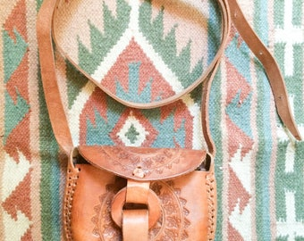 Tooled leather purse, cross body mini bag from Mexico