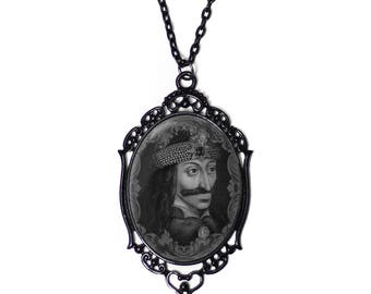 Vlad the Impaler 30x40mm Black Cameo Necklace