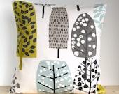 Cotton Pillow Cover, Scandinavian, 16x16, 18x18, 20x20, Modern Cushion Cover, Throw Pillow Sham, Pillow Slip - Lollipop Trees Chartreuse