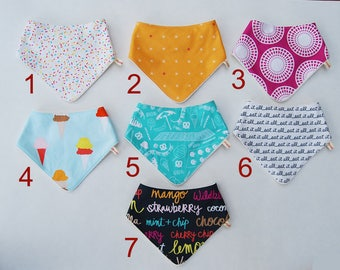BANDANA BIB * Cotton - Organic Bamboo * Ice cream Flavors * Baby Shower gift * Newborn gift