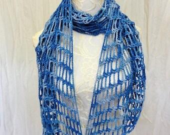 shades of blue silk linen lightweight angled scarf