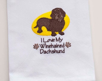 SALE - Wirehaired Dachshund Tea Towel | Personalized Kitchen | Embroidered Kitchen Towel | Embroidered Towel | Kitchen Towel |Dog Lover Gift