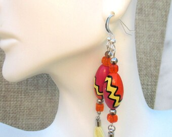 Funky Earrings, Colorful Jewelry, Wood Earrings, Tassel Jewelry, Cute Long Earrings, 925 Silver Earrings, Czech Glass Earrings 2-3/4in