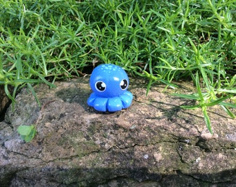 Polymer Clay Figurine Blue Octopus