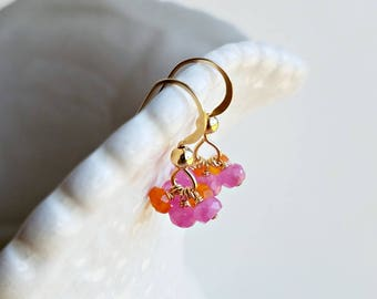 Pink Orange Gemstone Cluster, Tiny Pink Sapphire Earrings, Bright Pink Cluster Earrings