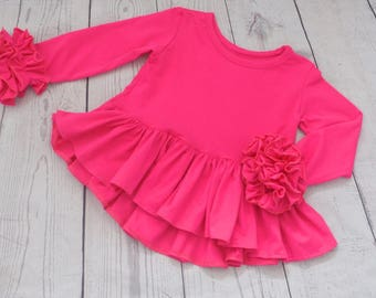 High Low Peplum Top Available in Many Colors / Long Sleeve Peplum Top for Girls / Ruffle Top for Girls