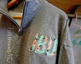 Floral Applique Circle or Block Monogram Quarter Zip Adult Sweatshirt Jacket Ladies with Collar Plus Size Available 2X 3X