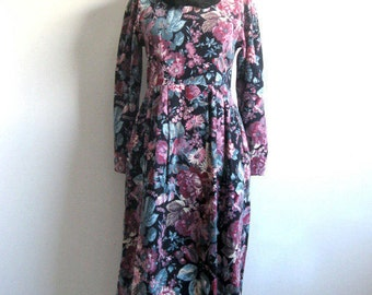 Country Floral 80s LAURA ASHLEY Dress Black Dusty Rose Pinwale Corduroy 1980s Cotton Dress 6