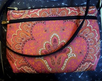 Danny K Crossbody Tapestry Purse Bag Handbag Salmon Ecru Taupe Mocha Gold Lightweight 2 Zippered Pockets Made In USA