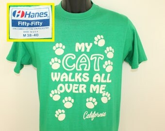 California cat lover vintage t-shirt S/M green soft thin 80s puffy graphic Hanes Fifty-Fifty