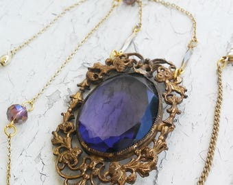 Antique Purple Glass Gem Pendant necklace Jewelry