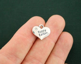 4 Happy Easter Charms Antique Silver Tone 2 Sided Heart With Inset Rhinestone - SC7125 NEW6