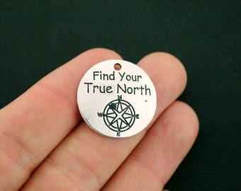 BULK 20 Compass Charms Antique Silver Tone Find Your True North - SC7053