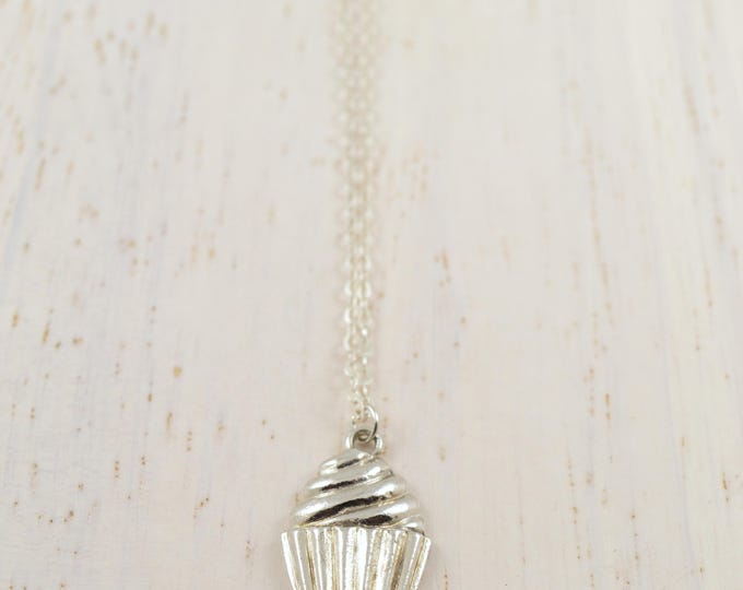 Cupcake Necklace in Silver
