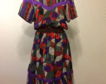 Vintage 80s Animal Print/Floral Mashup Flutter Sleeve Dress
