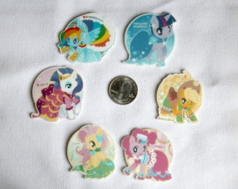 Acrylic My Little Pony Inspired Party Dresses Flat Back Bow Center Magnet Badge Reel Assessories Grand Galloping Gala
