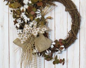 Cotton Wreath, Rustic Wreath, All Seasons Wreath, Cotton Boll Wreath, Farmhouse Decor, Rustic Decor