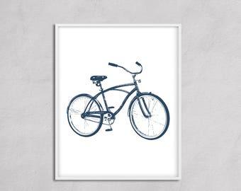 Bicycle Wall Art Blue Nursery Art, Big Boy Room Wall Art, Transportation Nursery Art, Bike Art Navy, Bathroom Bicycle Art, Square Wall Art