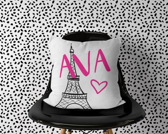 Personlaized Paris Pillow, Girl Nursery Travel Pillow, Eiffel Tower Pillow, Name Paris France Pillow, Travel Nursery Decor, Travel