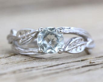 Green Amethyst Twig Engagement Ring, Bark Engagement Ring, Twig Ring, Alternative Engagement Ring, Nature Bark Ring, Nature Engagement Ring