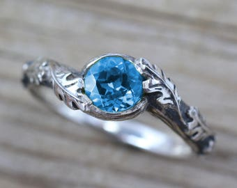Leaf Ring With Blue Topaz Gemstone In Silver, Blue Topaz Leaves Ring, Friendship Ring, Silver Nature Ring, Forest Ring, Natural Floral Ring
