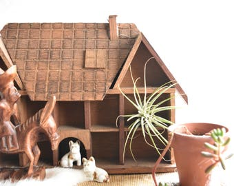 small hanging wood house curio shadow box / wall pocket shelf