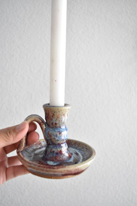 beautiful multicolored blue purple hand thrown stoneware glazed candleholder with handle / candlestick holder
