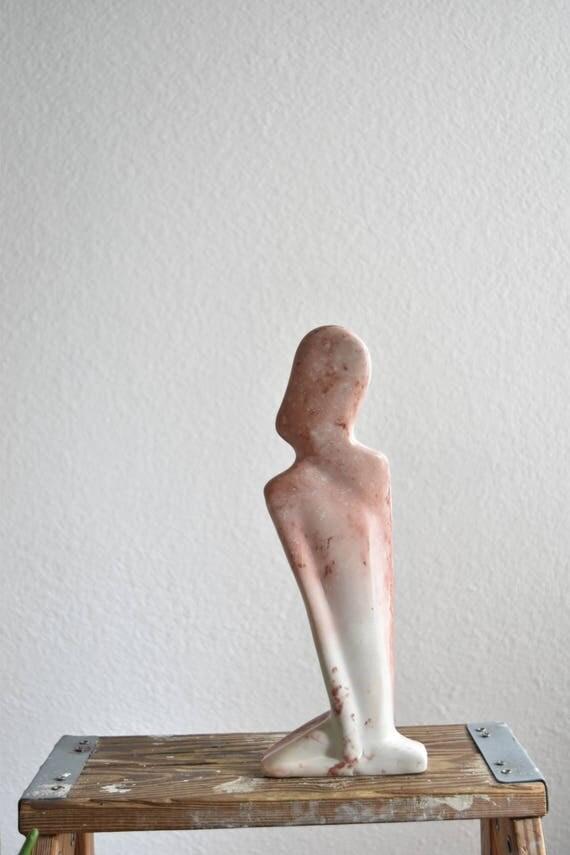 minimalist tall soap stone girl figurine sculpture