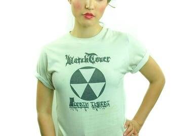 Vintage WATCH TOWER shirt Death Threat 1980s Metal 1980s Tee 1980s Shirt Dangerous Toys Metallica Iron Maiden Tee Black Sabbath 50/50 M