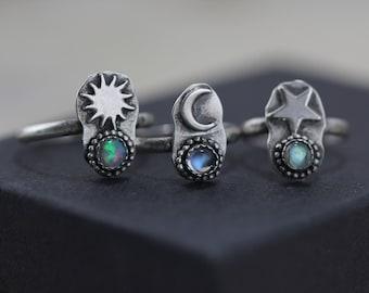 Moon Moonstone Ring Sun Opal Ring Star Labradorite Ring Sterling Silver 3 4 5 6 7 8 9 10 11 12 October Birthstone June Birthstone Stacking