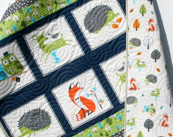 Forest Baby Quilt, Boy Quilt, Modern Trendy, Baby Bedding, Nursery Blanket, Toddler Forest Fellows, Fox Deer Hedgehog Owls Bright Green Navy