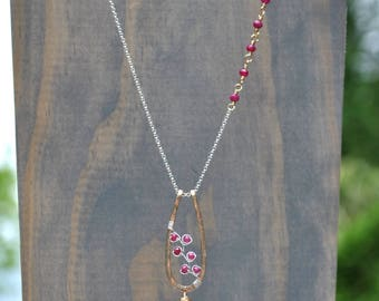 Genuine Ruby Necklace, Luxe AAA Natural Dark Pink Ruby & Gold Rutilated Quartz Pendant, July Birthstone Necklace, Mixed Metal Ruby Pendant