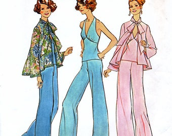 Simplicity 7012 Vintage 70s Misses' Top, Halter Top and Wide-Leg Pants Sewing Pattern - Uncut - Size 10 - Bust 32.5