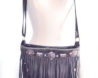 Leather Bag | Cross Body | Fringe | Gypsy | Boho | Bag | Designer | Bags and Purses | Black Leather