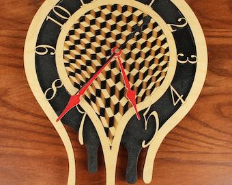 Melting Clock, Red and Black, Laser Cut Wood, Paul Szewc