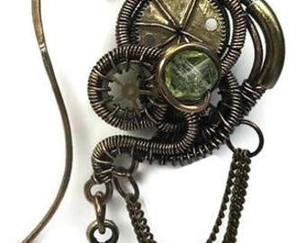 Uranium Glass Wire-Wrapped Steampunk Earrings in Antiqued Brass