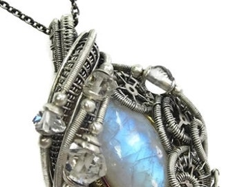 Rainbow Moonstone Wire-Wrapped Steampunk Pendant in Antiqued Sterling Silver with Herkimer Diamonds & Quartz