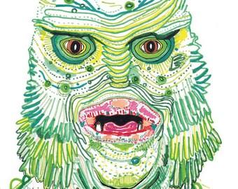 the creature from the black lagoon. hollywood headshot. illustration art print