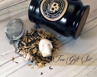 "Valentine Tea Gift Set Sugar Skull Sugar Cubes  // Valentine Gift // ""tea lover"" Gift //  Day of the Dead // Gothic Tea"