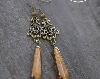 Boucles d'oreilles - Baroque - Boucles d'oreilles bronze - Antique - Bijou bohème - Coco Matcha