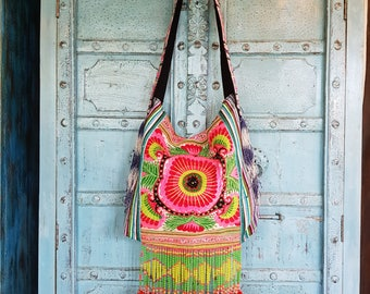 Hmong Fabric Tribal crossbody bag Vintage Hand embroidery flowers Cute Ethnic Fashion