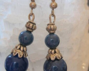 LAPIS LAZULI and STERLING Silver Drop Earrings