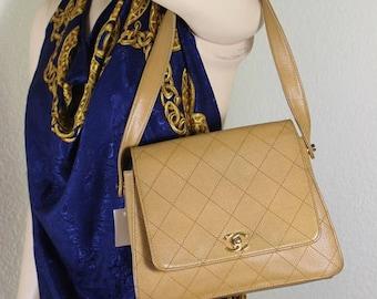 Vintage CHANEL Quilted CC Logos Metal Caviar Leather Brown Shoulder Bag