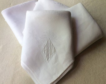 Antique Linen Napkins -Lapkins- Fine Table Linens-White Damask - Monogrammed Napkins
