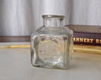 Vintage Sanford Ink Bottle Clear Glass Sanford Manufacturing Logo Collectible Bottle Fountain Pen 1930s