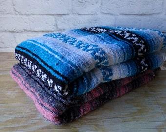 Vintage Blue or Pink Saltillo Blankets BOHO Beach House   Gift idea Photography Prop
