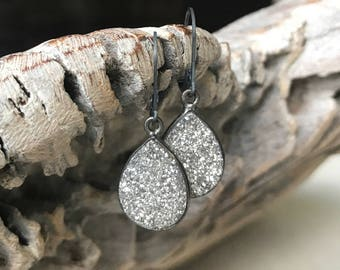 Large Silver Druzy Earrings